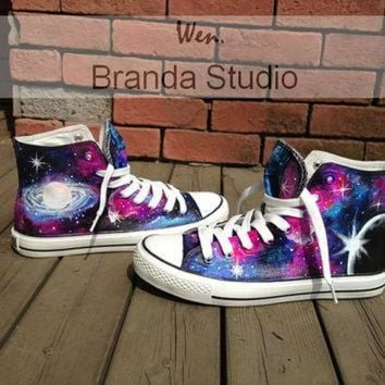 DCKL9 Galaxy Converse,Hand Paint On Custom Converse Only 89Usd, Studio Hand Painted Shoes Hi