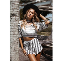 Plus Size Striped Women's Sets Elastic Waist 2 Pieces Set Crop Top + Shorts Cotton V-Neck Stretchy Loose