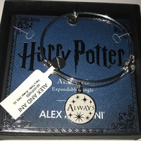 Alex Ani Harry Potter Always Charm Bangle Silver Finish New