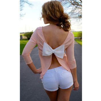 Backless Bow 3/4 Sleeve New Fashion Blouse