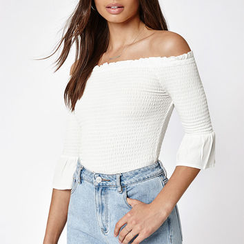 Kendall and Kylie 3/4 Sleeve Off-The-Shoulder Top at PacSun.com