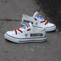 Custom Printed Low Top Canvas Shoes - Proud Boricua