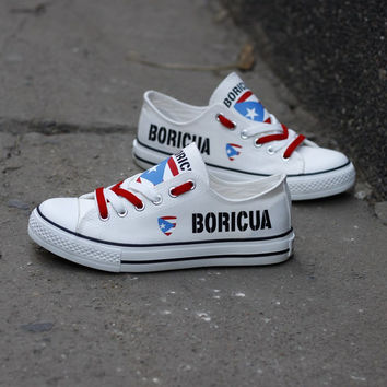 Boricua Flag Pride Low Top Canvas Shoes Custom Printed Sneakers
