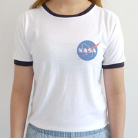 Nasa Logo Ringer Tee Tumblr Top Pocket Nasa Shirt