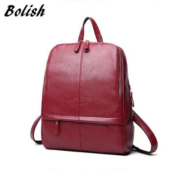 Bolish Hot Sale PU leather Women Backpack Fashion Preppy Style School Bag Girls Laptop Rucksack Soft Leather Women Bag