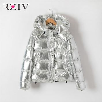 RZIV 2017 autumn and winter coat women jacket casual cotton hooded coat metallic colors