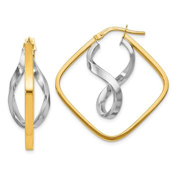 Leslies 14k Two-tone Gold Fancy Twisted Square Hoop Earrings