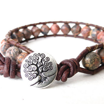 Tree of life wrap bracelet, hippie style leather jewellery with leopard skin agate beads on distressed leather