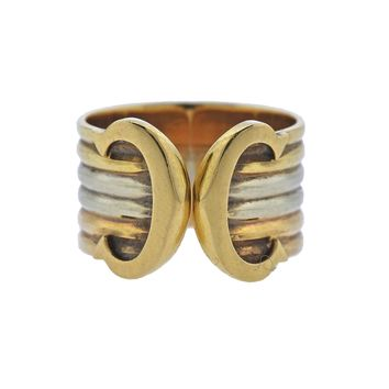 Cartier Tri Color Gold CC Cuff Ring