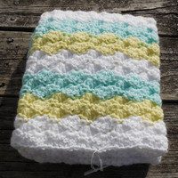 Crochet Baby Blanket, Baby Blanket, White, Mint Green, and Yellow Waves, travel stroller pram size