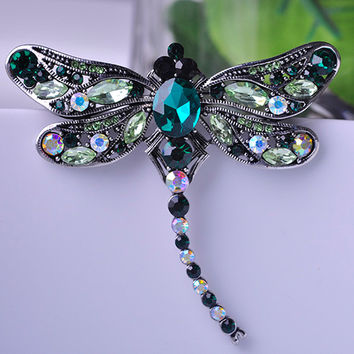 Blucome Antique Silver Plated Dragonfly Brooches Corsages Jewelry Shining Crystal Vintage Brooch Green Big Broches Hijab Pins Up