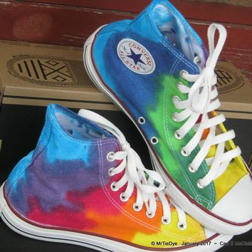 men sz 7 5 rainbow wrap hand dyed converse sneakers hi top women sz 9 5