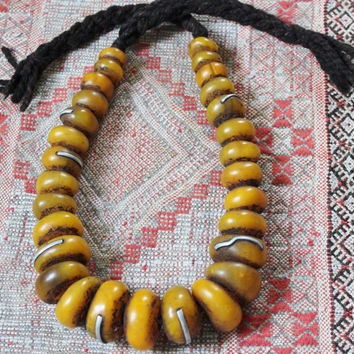 Faux Amber Berber Saffran Heavy RESIN Beads with Metal Pieces Necklace, Morrocan Sahara 620 gr