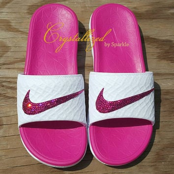 GORGEOUS Swarovski Crystal Nike Benassi Women's Solarsoft Slide Bling Sandals
