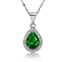 May Birthstone Tear Drop Necklace (Emerald Crystal)