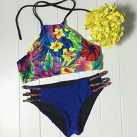 Floral Bikini Set Womens Hollow Out Swimsuit Beach Bathing Suits Summer Free Shipping