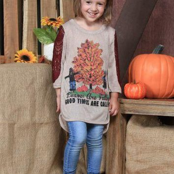 Girls Leaves Are Falling, Good Times Are Calling on Tan with Maroon Lace Sleeve Accent