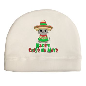 Happy Cinco de Mayo Cat Adult Fleece Beanie Cap Hat by TooLoud