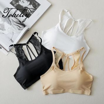 Ice silk without trace underwear breathable thin shoulder strap lace wrapped chest beautiful belts chest pad Bra