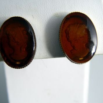 Amber Glass Intaglio Cameo Clip Earrings