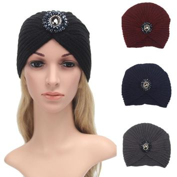 Crochet Braided Turban winter women hat diamond Warm ear gauze hooded girl caps Knitting Wool female Skullies Stretch Headdress