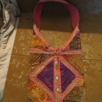 Vintage  80s BOHO Hippie patchwork beads sequins woven shoulder bag