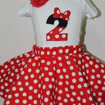 Minnie Mouse 2nd birthday outfit, Minnie Mouse birthday, Minnie 2nd birthday, Minnie Mouse skirt, red and white polka dots