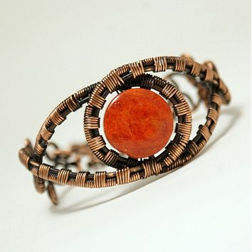 Handmade Copper Wire Wrapped Red Boho Bracelet