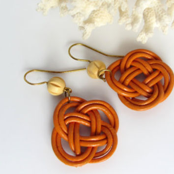 Pumpkin Earrings Knotted Leather Like Cord in Double Coin Josephine Knot Dangle Wooden Bead Accent Fall Fashion Autumn Jewelry Gift for Her