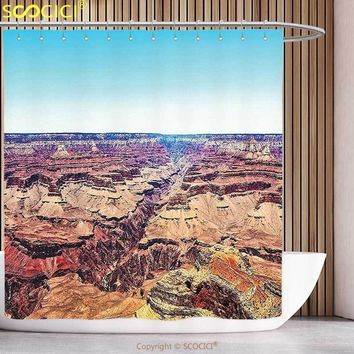Funky Shower Curtain House Decor Skyline over Canyon in Summer with North Western Heritage Earth Featured Image Tan Blue