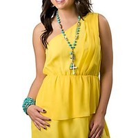 Envy Couture® Women's Yellow Tiered One Shoulder Chiffon Dress