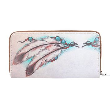 Mulit Color Feather Print Faux Leather Clutch Wallet Bag Accessory