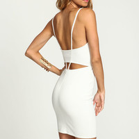 IVORY PLUNGE STRAPPY BODYCON DRESS