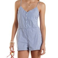 Navy Combo Button-Up Striped Romper by Charlotte Russe