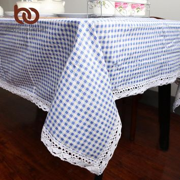 BeddingOutlet Blue Plaid Tablecloth Cotton And Linen Dinner Table Cloth Macrame Decoration Lacy Table Cover Fashion Classic