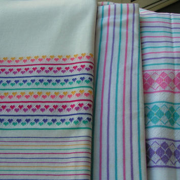 Heart Border Knit Fabric, second piece Argyle and Stripe. Three Pieces of Knit Fabric, Great Designs for Young Girls and doll clothing.