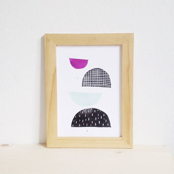 Linocut Art Print, Modern Decor with Geometric Shapes, 5X7 Limited Edition