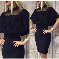 Black Mesh Ruffle Drape Cover Strapless Bodycon Dress