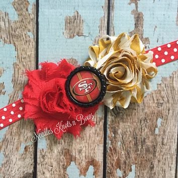San Francisco 49ers Headband, San Francisco Forty Niners Shabby Chic Headband, Football Headband
