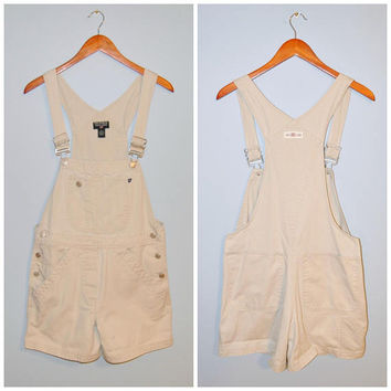 Vintage Khaki Shorts Overalls Shortalls Polo Ralph Lauren 1990's Size Small Cotton Overall  Beige Shorts Jumpsuit Normcore 90's Grunge