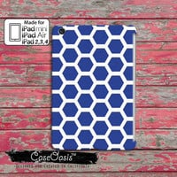 Navy Blue Hexagon Pattern Retro Look Cute Tumblr Inspired Custom iPad Mini and iPad 2, 3, 4 , and iPad Air Case Cover