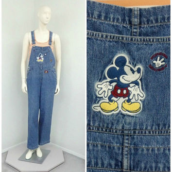 Vintage 90s Disney Overalls, Denim Overalls, Mickey Mouse Overalls, Dungarees, Blue Jean Overalls, Bib Overalls, Womens Overalls