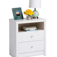 2-Drawer Contemporary Nightstand With Open Shelf Bedroom Furniture White Finish