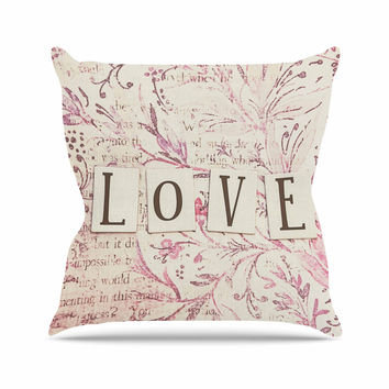 "Debbra Obertanec ""Simply Love"" Pink Typography Outdoor Throw Pillow"