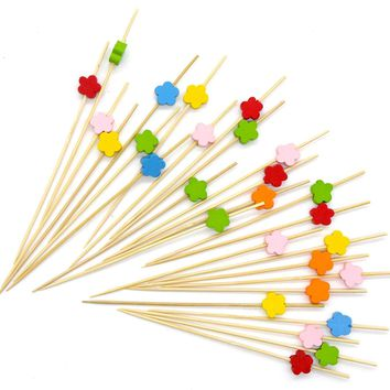 "PuTwo Cocktail Picks Bamboo Handmade Appetizer Toothpicks Sticks 4.7"" 100ct Assorted Color Cherry"
