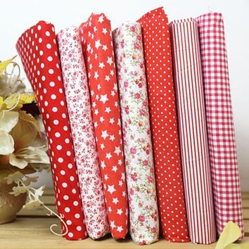 """Red 100% Cotton 7 Assorted Pre Cut 10"""" Squares Quilt Fabric DIY Craft Sewing New"""