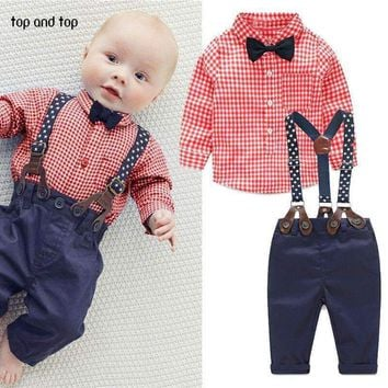 Boys 3 Piece Gingham Print Shirt And Suspenders Pants With Bow Tie