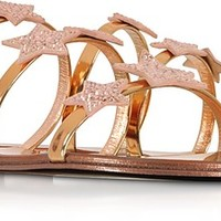 Giuseppe Zanotti Anya Star Laminated leather Flat Slide Sandals