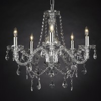 "Crystal Chandelier Lighting , 5 Lights , H19"" X Wd 19"" Ceiling Fixture Pendant Lamp New Chandeliers"