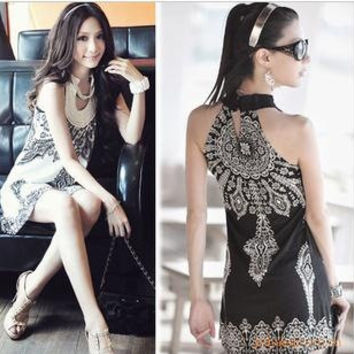 Hot Sale Bohemia Vintage Totem Sleeveless One Piece Dress [6328834049]